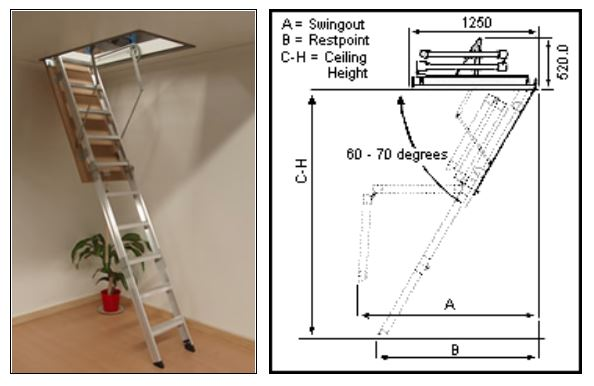 Attic Ceiling Ladders Access Boss Aluminium 8 0 Quot 8 6