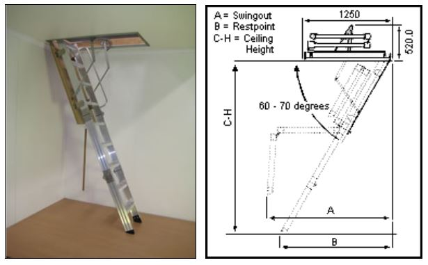 Attic / Ceiling Ladders - COMMERCIAL RATED - 150KG - Heavy Commercial Big Boss